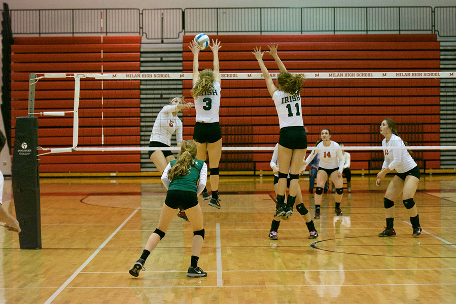 A great block being made by our Varsity Volleyball team.